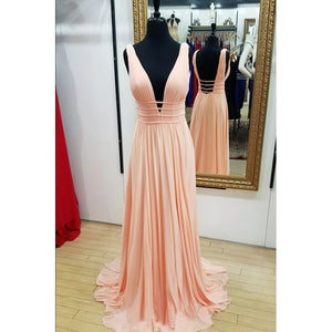 simple pink sexy deep- neck long prom dress chic popular evening dress,HO207