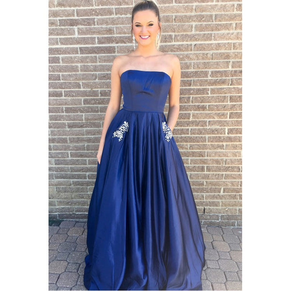 blue strapless simple cheap long prom dress with pockets,HO208