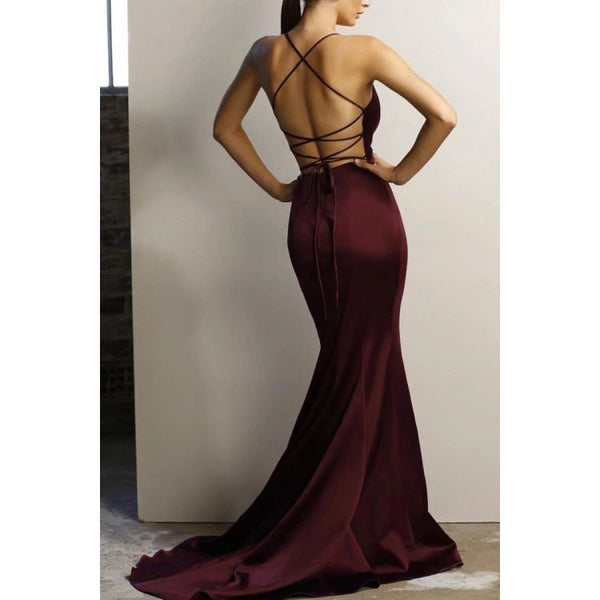 sexy burgundy v-neck mermaid open back long evening dress, HO210