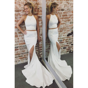 elegant simple white two pieces long prom dress with side slit, HO212