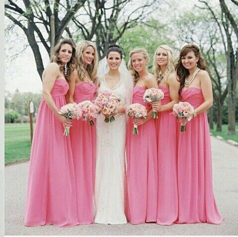 hot pink bridesmaid dress,long bridesmaid dress,chiffon bridesmaid dress,cheap bridesmaid dress,BD1610