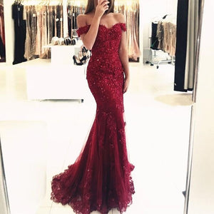 Off Shoulder Dark Red Lace Beaded Evening Mermaid Prom Dresses, Long Sexy Party Prom Dress, Custom Long Prom Dresses, Cheap Formal Prom Dresses,BD62354
