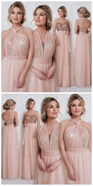 Blush Pink Bridesmaid Dresses,Convertible Bridesmaid Dress,Long Bridesmaid Dress,PD5