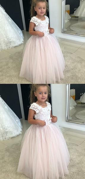Tulle Skirt Flower Girl Dresses, Cheap Long Little Girl Dresses, Girl's Birthday Party Dresses, FD15