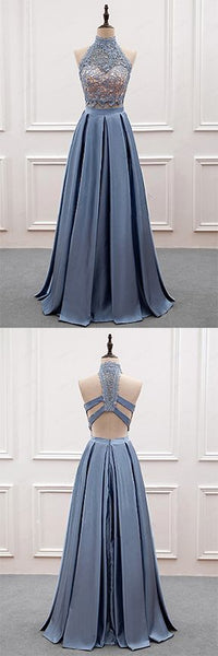 Two Pieces Prom Dresses,Lace Prom Dress,High Neck Prom Dresses,Blue Prom Dresses,PD455843