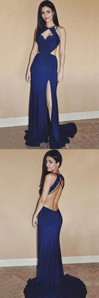 Sexy blue chiffon slit long backless evening dress,long prom dresses,BD03215