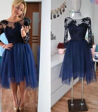 Charming Homecoming Dress,Appliques Homecoming Dress,Long-Sleeves Graduation Dress,Short Prom Dresses,PD455832
