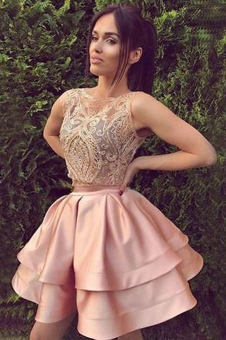 Cute round neck lace short a line pink homecoming dresses, sweet 16 dress,BD45462