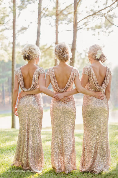Gold Sequin bridesmaid dress,long bridesmaid dress,Short Sleeves bridesmaid dress,Open Back bridesmaid dress,BD005
