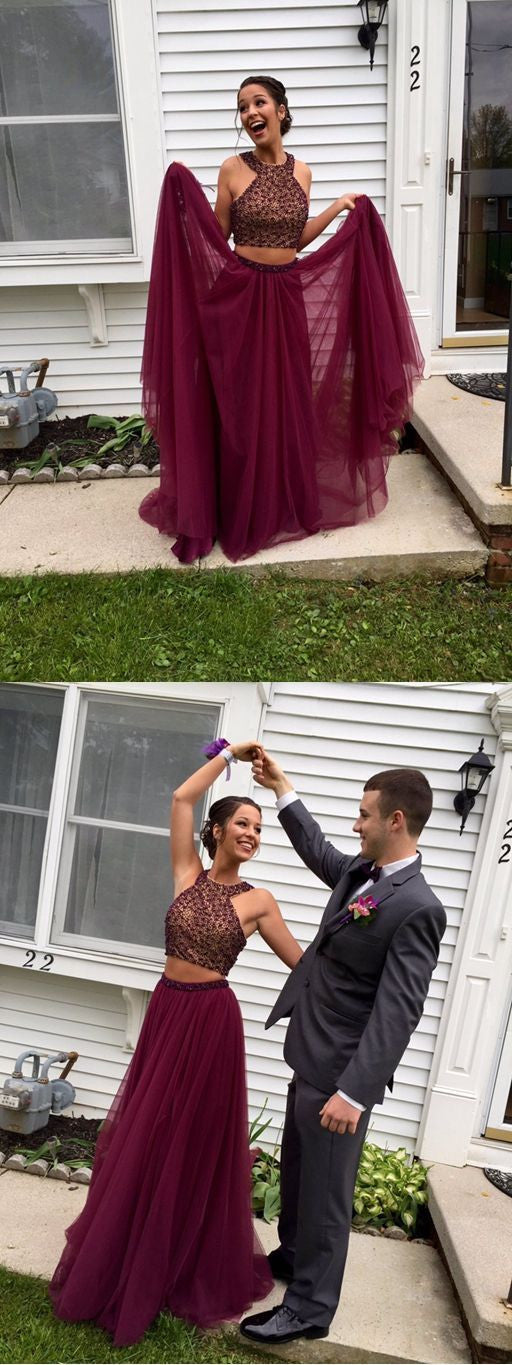 Halter Prom Dresses, Two Pieces Prom Dress,Burgundy Prom Dresses,Cheap Prom Dress,Off-shoulder Prom Dresses,PD00215
