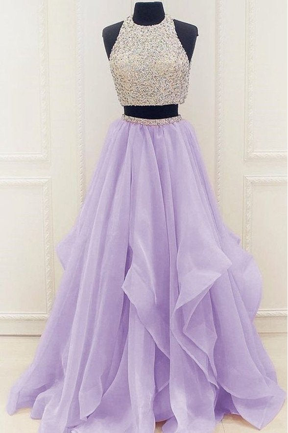 Two Pieces Prom Dress 2017, Halter Prom Dress, Ball Gown, Graduation Dresses, Formal Dress For Teens,PD455826