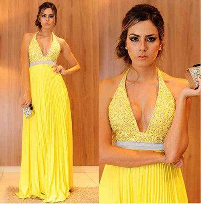 yellow Prom Dresses,halter Prom Dress,Dresses For Prom,formal Prom Dress,long Prom Dress,BD894