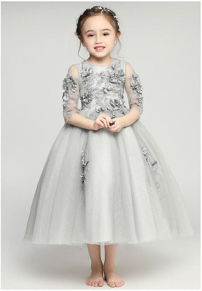 Light Grey Flower Girl Dresses, Long Sleeves Little Girl Dress, Girl's Party Dress, FD020