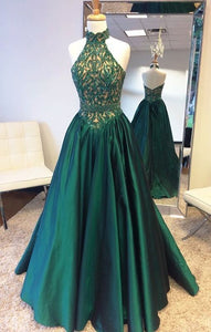Elegant Halter Sweep Train Hunter Prom Dress with Lace Beading, Emerald Green Prom Dress, Prom Party Dress, Long Prom Dresses,PD45447