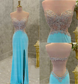 Blue backless prom dress, sexy prom dress, slit prom dress, 2016 prom dress, Long prom dresses, Prom dress online, Backless prom dress,360003