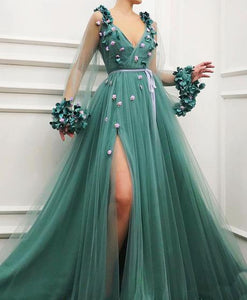 dusty green tulle v-neck long sleeves prom dress with side slit,HO188
