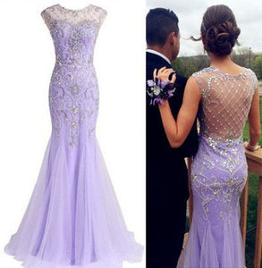 lilac Prom Dresses,long prom dress,charming prom Dress,elegant prom dress,beaded evening dress,BD2803