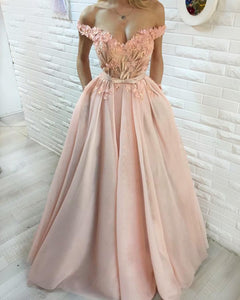 blush pink off shoulder A-line long princess prom dress,BO72