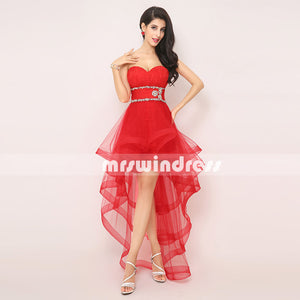 High Low Short Red Prom Dresses,Homecoming Dresses,AJ014