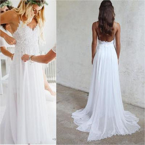 white spaghetti straps long prom dress cheap simple wedding dress,HO204