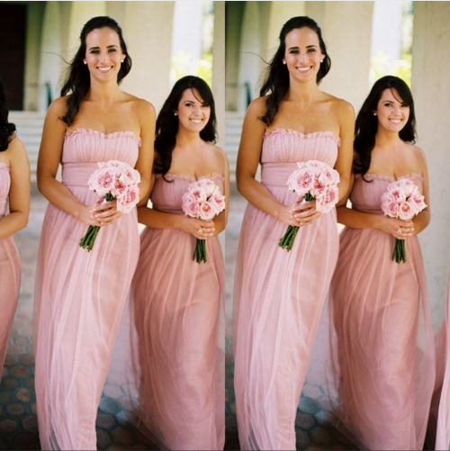 pink bridesmaid dress,long bridesmaid dress,chiffon bridesmaid dress,strapless bridesmaid dress,BD1613