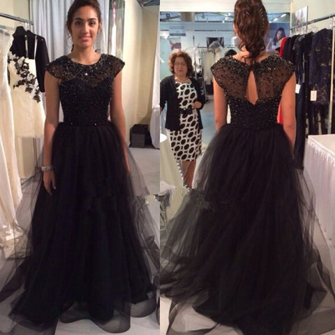 black Prom Dresses,long prom dress,A-line prom Dress,cap sleeves prom dress,charming prom gown,BD2978