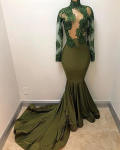sexy see through top high neck long sleeves mermaid long evening dress,HO106