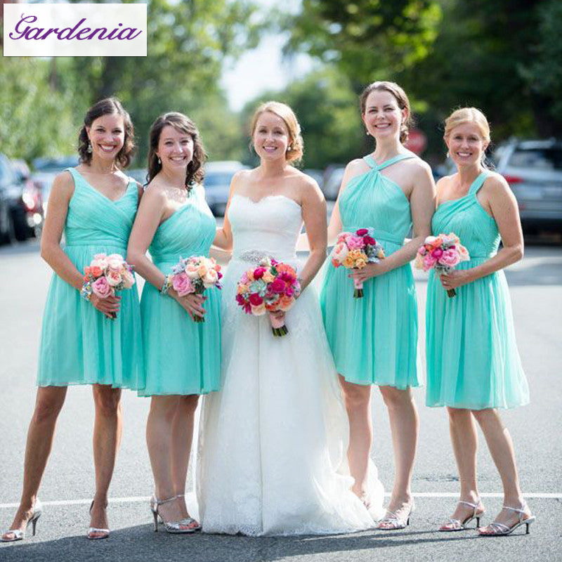 short bridesmaid dress,blue bridesmaid dress,mismatched bridesmaid dress,chiffon bridesmaid dress,BD1646
