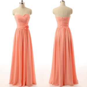 long bridesmaid Dress, peach bridesmaid Dress, chiffon bridesmaid Dress, sweetheart bridesmaid Dress, BD1645