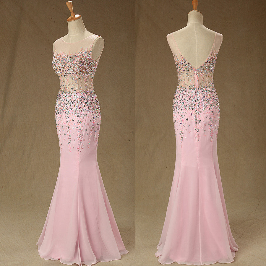 long prom dress,charming Prom Dress,pink prom dress,side slit prom dress,formal evening dress,BD1276