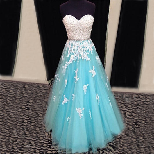 long prom dress,tulle Prom Dress,A-line prom dress,blue prom dress,lace up prom dress,BD1281
