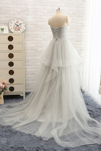 Long Prom Dresses,Gray Prom Dresses,Charming Prom Dress,Tulle lace up Prom Dress,Party dress,BD148