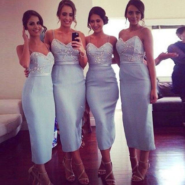blue bridesmaid dress,tea length bridesmaid dress,sheath bridesmaid dress,2016 bridesmaid dress,BD1630
