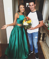 green Evening Dress,two pieces Prom Dress,long prom dress,party dress for girls,evening gown 2017,BD2704