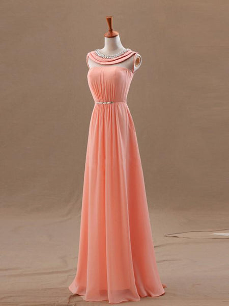 Chiffon Evening Dress A-line Scoop Sleeveless Chiffon Prom Dresses With Beaded,PD4558725