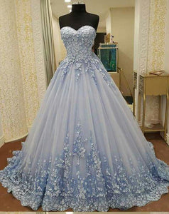 sweetheart light blue long prom dress princess ball gown, HO221