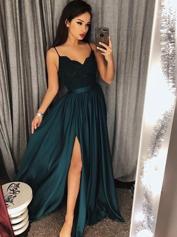 Cheap Teal Spaghetti Straps Side Slit Simple Long Prom Dress, BO12