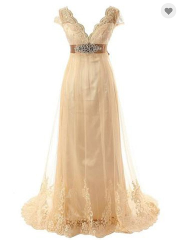 gold cap sleeves v-neck empire waist long prom dress, HO215
