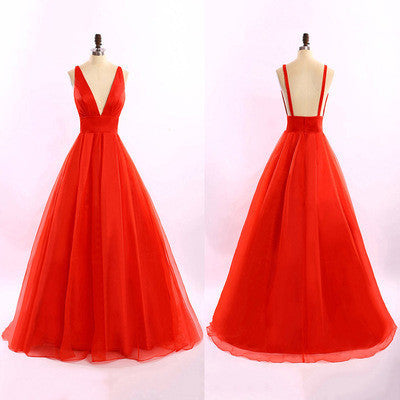 red prom Dress,A-line Prom Dress,V neck prom dress,Charming prom dress,Long prom dress,party dress,BD393