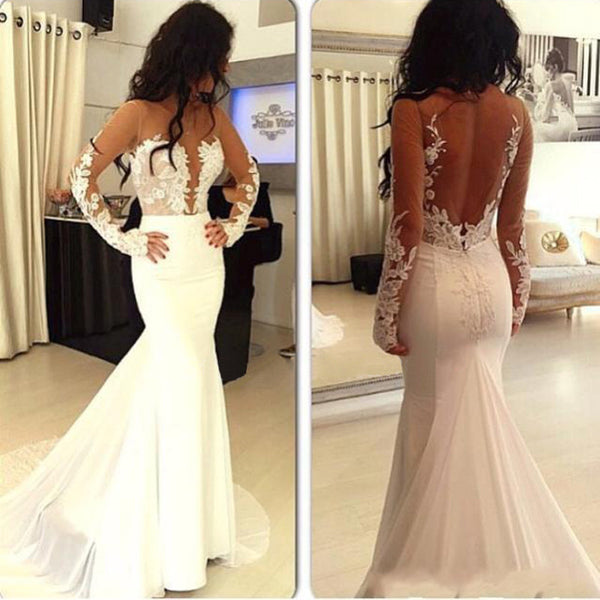 Sexy Prom Dresses,Hot Sale Prom Dress,Mermaid Prom Dress,Open Back Prom Dress,Long Sleeve Prom Dress,PD004