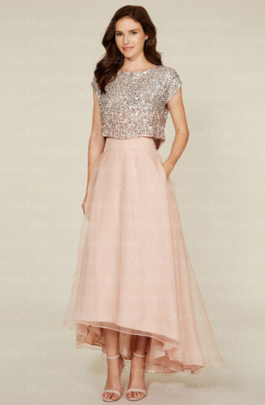 sequin bridesmaid dresses, 2 piece bridesmaid dresses, organza bridesmaid dresses, blush pink bridesmaid dresses,strapless bridesmaid dresses,BD360001
