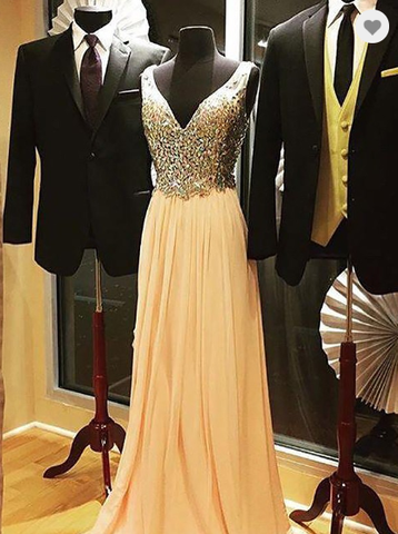 champagne beaded chiffon v-neck long prom dress, HO217