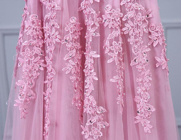 Prom Dresses Appliques V-neck Long Tulle Prom Dresses,Evening Dresses,PD4558708