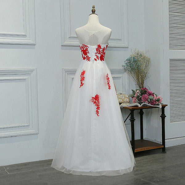 Prom Dresses, White And Red Long Appliques Prom Dresses,PD4558998