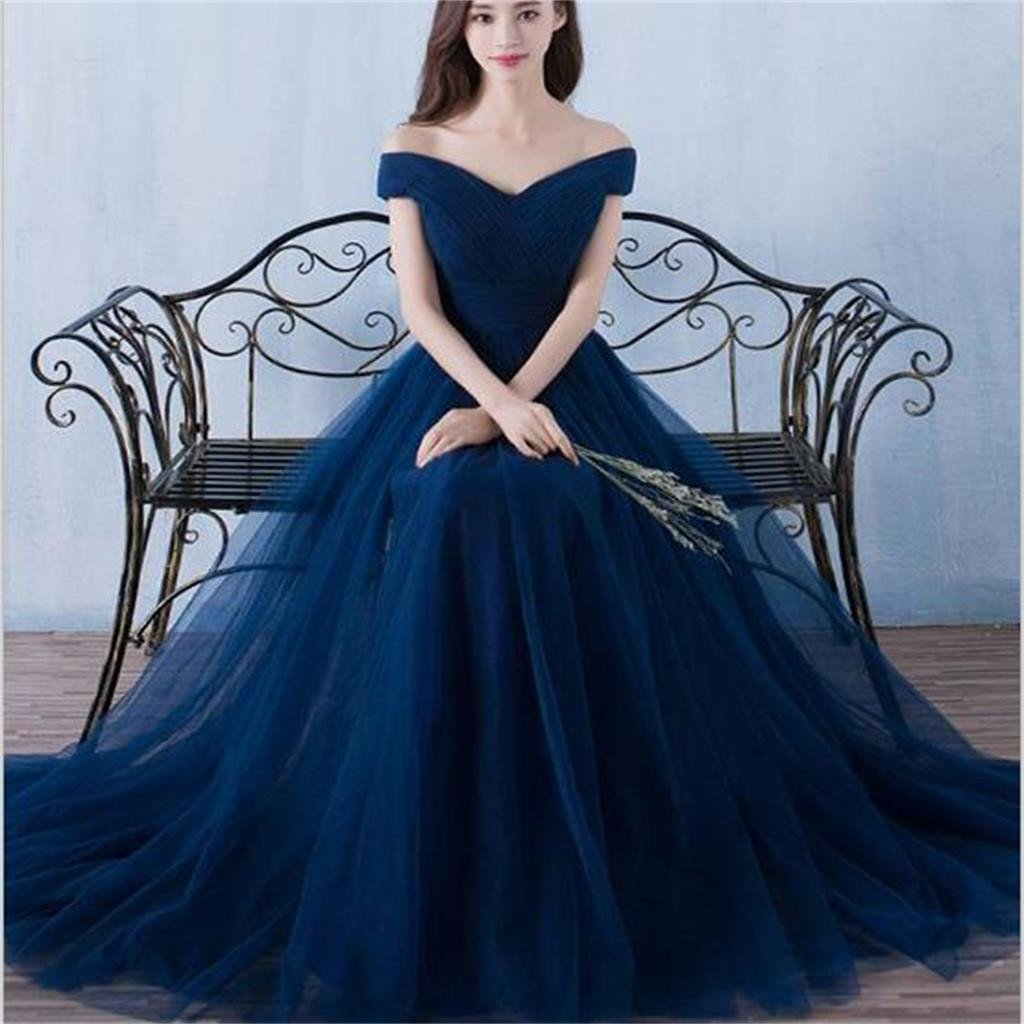 Cheap Prom Dresses Off-the-shoulder Long Tulle Prom Dress,PD4558961