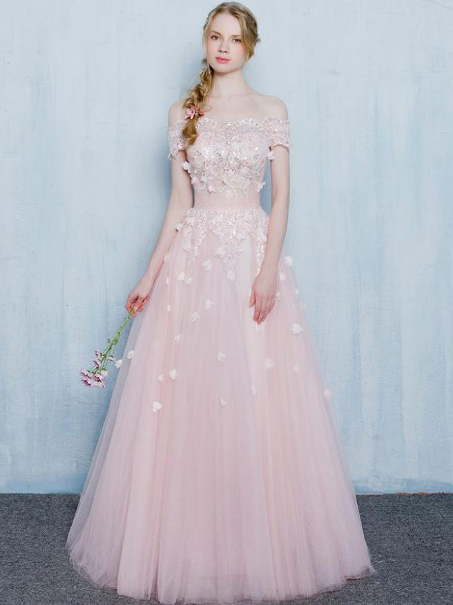 Pink Prom Dresses, Off-the-shoulder Long Prom Dresses,PD4558707