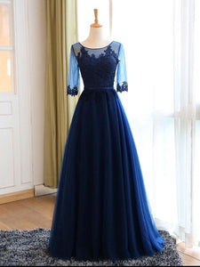 Chic Prom Dresses Sexy Dark Navy Appliques Lace-up Long Prom Dresses,PD4558703