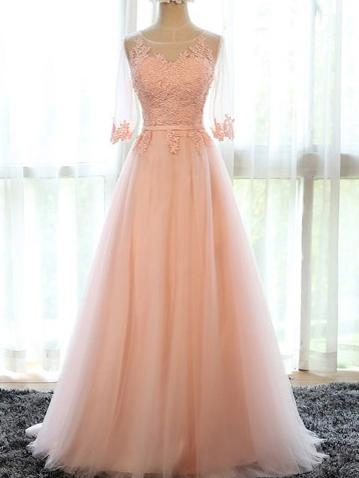 Beautiful Prom Dresses Pink Tulle Long Prom Dresses,PD4558937