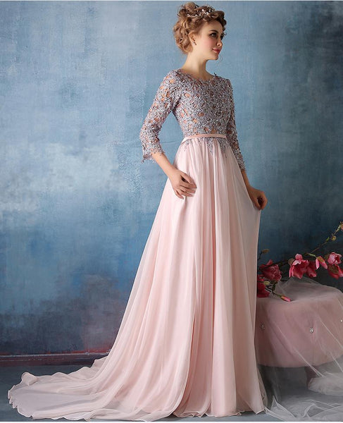 Long Cute Prom Dresses Scoop Chiffon Prom Dresses,PD4558984