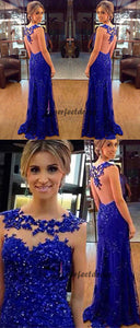 Blue Prom Dresses ,Column Long Prom Dress,Evening Dresses,PD4558934